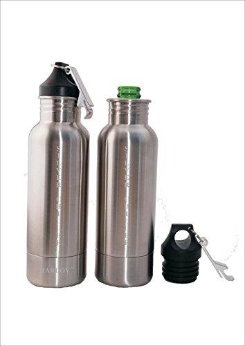 Harlov SILVER CHILLER Stainless Steel Beverage Cooler with Neoprene Insulation to Keep Your Favorite Long Neck Bottle Beverage Cold 1 Bottle Beverage Cooler Per Order