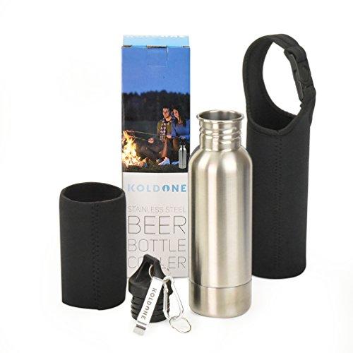 Stainless Steel Beer Bottle Cooler By KoldOne – Upgraded Design Neoprene Shock - Great Beer Bottle Holder – Package Includes Cooler Carabiner Neoprene Bag Bottle Opener
