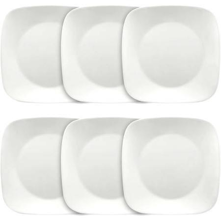 Corelle Corelle Square 10-14 Dinner Plate Set of 6 Pure White