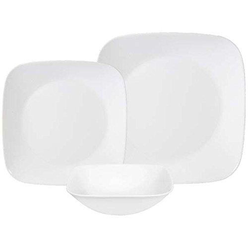 Corelle Square Pure White 18-Piece Dinnerware Set Service for 6