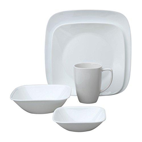 Corelle Square Pure White 20-Piece Dinnerware Set Service for 4