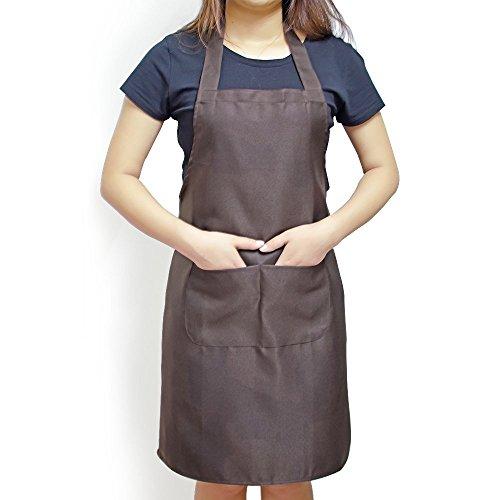 Elimit Professional Bib Apron 2 Piece Kitchen Cooking Craft Baking Apron With Front Pocket 2 Brown