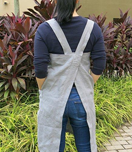 Linen Pinafore Apron-mediumweight Japanese Apron Cross Apron No Tie Apron - 2 side Pockets COLOR ASPHALT GRAY