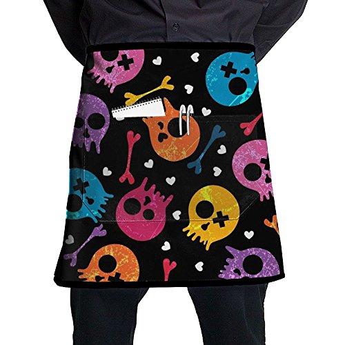 Quen Colorful Cartoon Skull Unisex Apron Short Apron Waiter Pinafore With Pockets