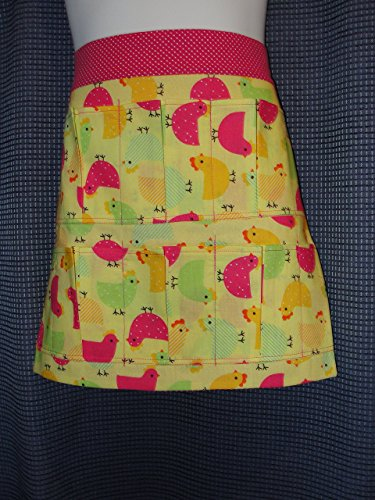 Child Youth Handmade Chicks Chickens 6 Pocket Apron Pockets hold eggs Made in the USA
