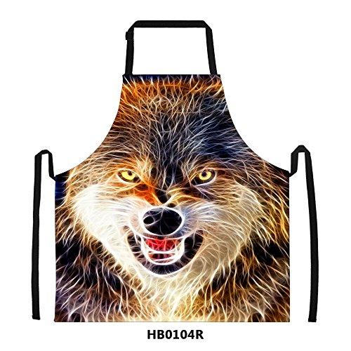 FOR U DESIGNS Cool Wolf Print Mens Kitchen Chief Cooking BBQ Bib Apron Gift