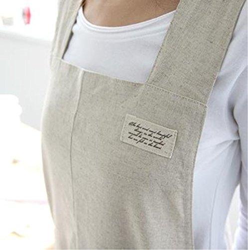 Katoot Housewarming Chef Apron Gift for Women Japanese Style X Shape Denim Smock Cotton Apron H95cm - Beige Color