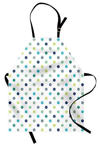 Polkadot Apron by Ambesonne Polka Dots Retro Classy Vintage Fabric Pattern Design Style Unisex Kitchen Bib Apron with Adjustable Neck for Cooking Baking Gardening Apple Green Dark Blue Jade Green