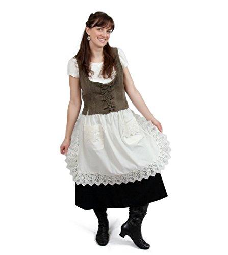 Ecru Off-whitebeige Lace Deluxe Victorian Maid Costume Ladies Half Apron 23x36