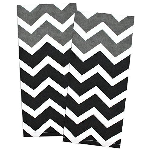 DII 100 Cotton Oversized Low Lint Everyday Kitchen Basic Printed Chevron Dishtowel Tea Towel 18 x 28 Set of 2- Black