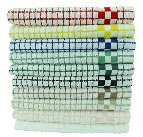 Fecido Classic Kitchen Dish Towels Set - Heavy Duty - Super Absorbent - 100 Cotton - Professional Grade Dish Cloths - European Made Tea Towels - 10 Pack Multi Color