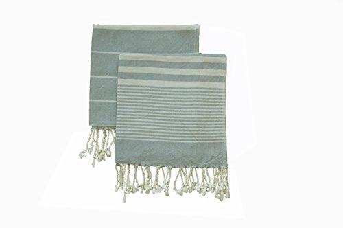 Set of 2 Eco-friendly Turkish Tea Towel Dishclothes Peshkir Dish Towel Kitchen Towel Hand Towel Light Grey Size 18″ x 40″