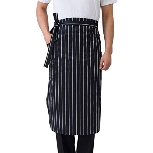 Enerhu Chef Half Apron Waist Apron with Front Pocket Kitchen Restaurant Stripes