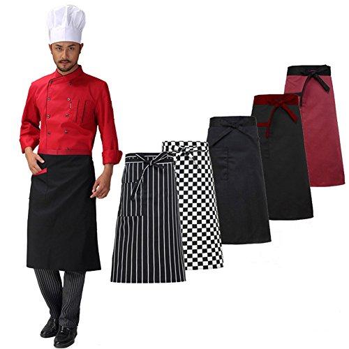 Junda 2-Pack Adjustable Kitchen Apron Cooking Aprons Half Body Waist Apron for Chef Waiter Baker Servers Men