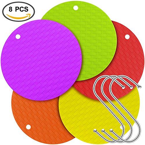 5 pcs Silicone Trivet Mats Hot Pads  Pot Holders Spoon Rest Jar Opener Coasters - SourceTon Kitchen Tool is Heat Resistant Insulation Non-slip Flexible Bonus 3 S Shape Hooks for storage
