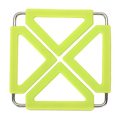 Per Multifunction Hot Pads Stainless Steel Silicone Non-slip Pot Holders Trivet Mat Heat Resistant Heatsink PadGreen