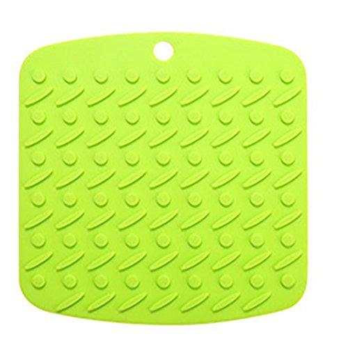 Transer Silicone Trivet Mat and Spoon Rest Multipurpose Kitchen GadgetsPot Holder Hot Pads Jar Opener and Table Coaster - Heat Resistant Dishwasher Safe Green