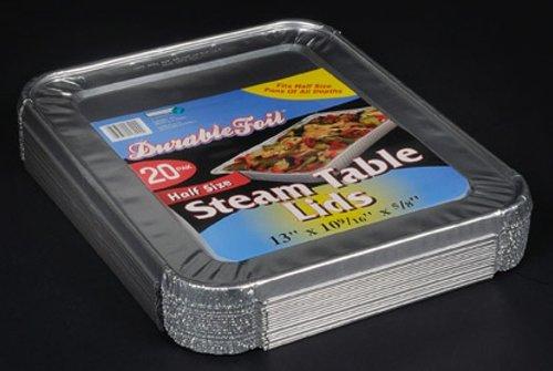 Durable Foil Aluminum Foil Lids for Aluminum Steam Table Pans Fits Half-Size Pans 5 Bags of 20