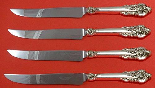 Grande Baroque by Wallace Sterling Silver Steak Knife Set 4pc Texas Sized Custom