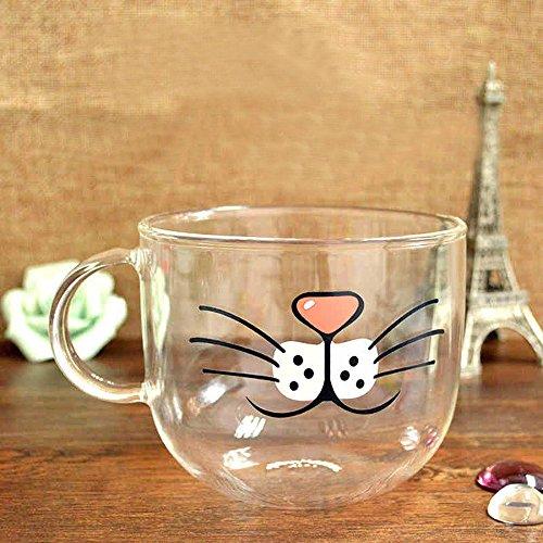 Kisstaker Handmade Cartoon Glass Cup High Temperature Resistant Transparent Water Mug Cat Pig Nose Pattern Glass Mug