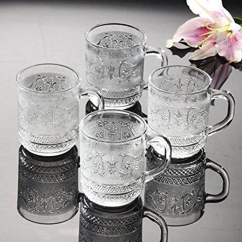 Renaissance Collection 10 Ounce CoffeeTea Glass Mugs Set of 4