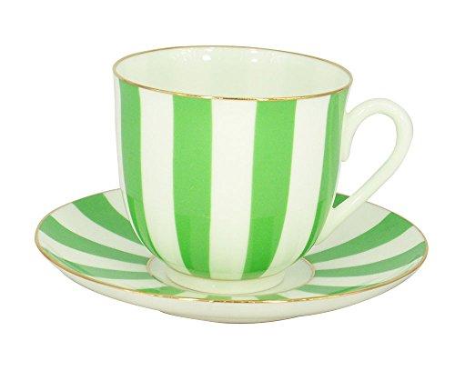 Lomonosov Porcelain Bone China Tea Cup and Saucer Green Yes and No 6 oz180 ml