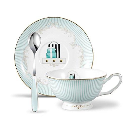 Panbado 3 Piece Bone China Porcelain Gold Rimmed Tea Cup Saucer Set with Spoon Teacup Coffee European Fashion Stripe 200ml 68 oz Blue