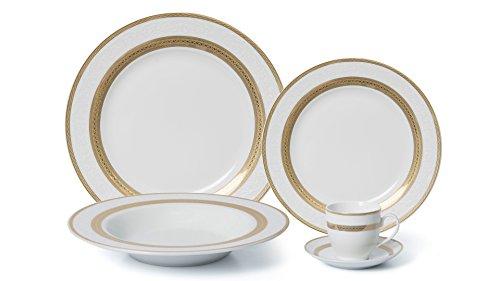Royalty Porcelain 5-pc Dinner Set for 1 24K Gold Premium Bone China Porcelain G093-5