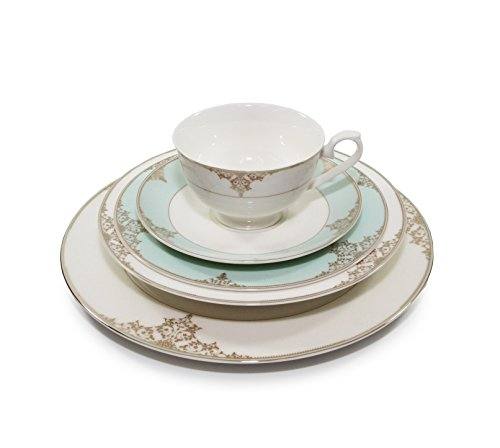 Royalty Porcelain Gloria 5-Piece White Heaven Blue Dinnerware Set 24K Gold-Plated Bone China Porcelain Service for 1