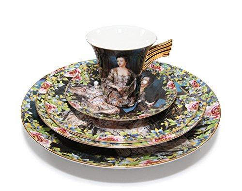 Royalty Porcelain Josefina Unique Painting 5pc Place Setting Service for 1 24K Gold-Plated Elite Bone China Porcelain