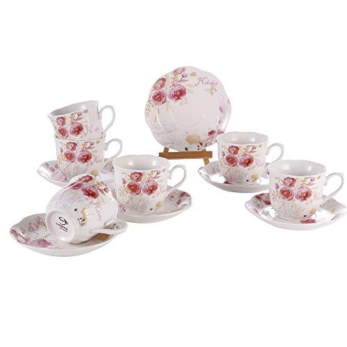 Tea Cup and Saucer Set of 6 - Bone China Porcelain cups Floral Tea Cups 7OZ