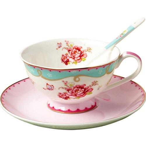 Jusalpha Vintage Rose Bone China Teacup Spoon and Saucer Set TCS03
