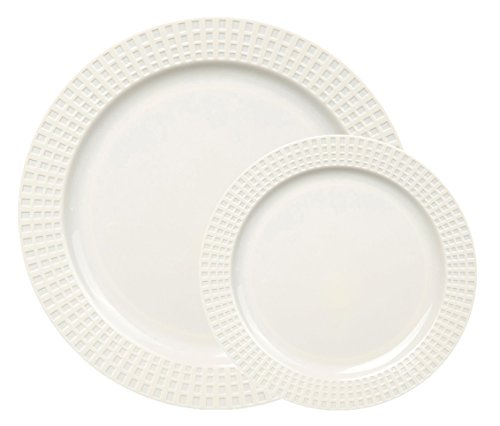 Table To Go 'I Can't Believe It's Plastic' 200-Piece Plastic Bowl Set  Venice Collection  Heavy Duty Premium Plastic Plates for Wedding Parties Camping More Ivory