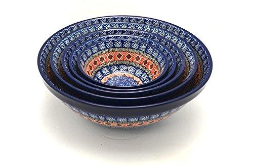 Polish Pottery Nesting Bowl Set - Aztec Sun