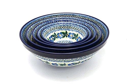 Polish Pottery Nesting Bowl Set - Blue Pansy
