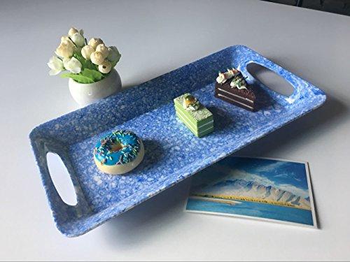 Melamine Serving Tray with HandleRims - Hware Dinner Plate and Cake PlattersBlue