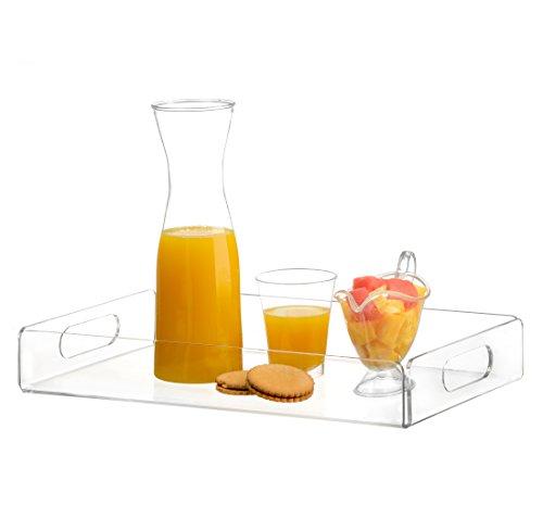 Saganizer acrylic tray tea tray and coffee table tray breakfast tray Clear Acrylic Serving Tray with Handles