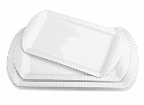 Lifver 15-inch Porcelain Embossed Rectangular PlatterServing Plates Set of 3 White