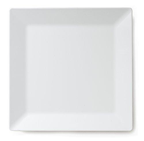 Q Squared Diamond White BPA-Free Melamine Square Platter 14-12 Inches White