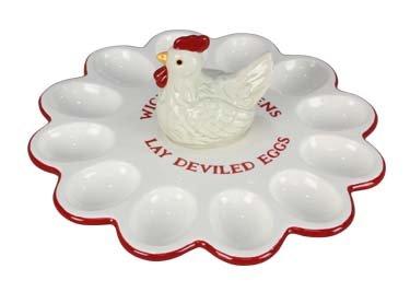 Ceramic Chicken Deviled Eggs Platter