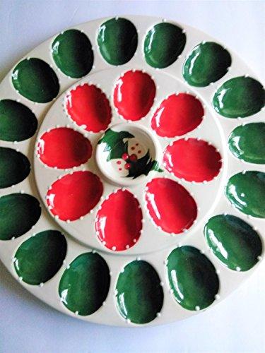 Ceramic hand painted Christmas deviled egg platter