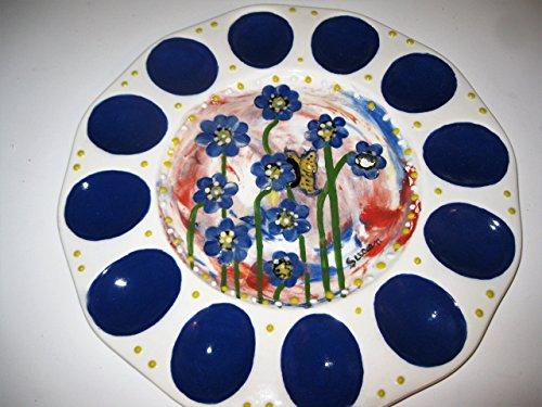 USA hand painted blue Daisy Easter deviled egg platter