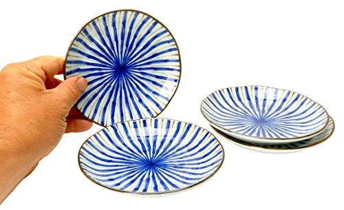 Spiceberry Home Porcelain Appetizer Plate Blue Japanese Tokusa Pattern Set of 4