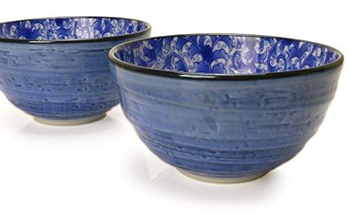 Spiceberry Home Porcelain Bowls 55-Inch Blue with Blue Nochigo Design Set Of Two