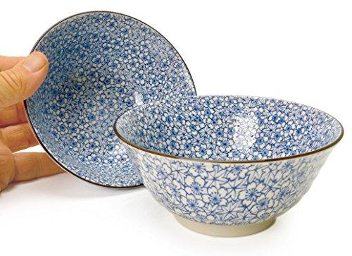 Spiceberry Home Porcelain Bowls Floral Blue 475-Inch Set Of Two