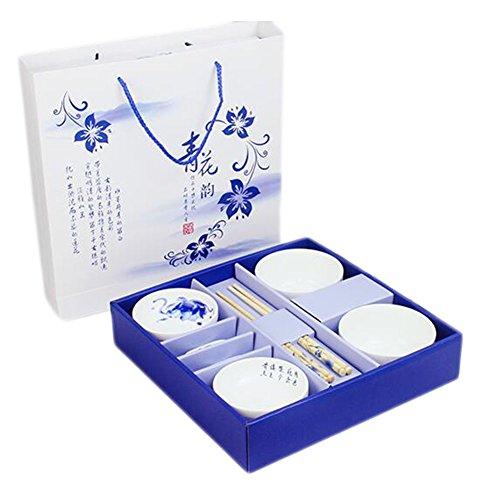 Wedding Business Gift Home Porcelain Tableware Set BowlDishChopsticks 8PCS-Lotus