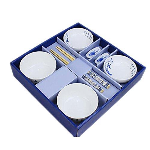 Wedding Business Gift Home Porcelain Tableware Set BowlDishChopsticks 8PCS-Peony