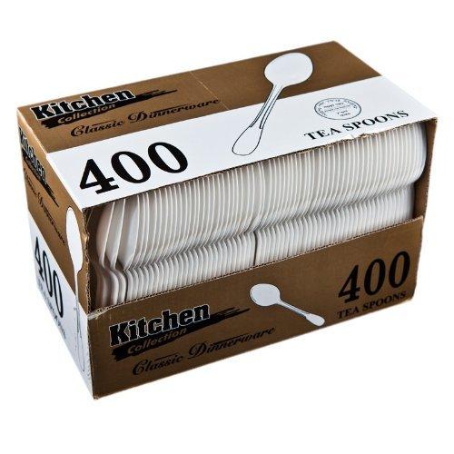 Blue Sky 400-Piece Disposable Plastic Tea Spoon Set White