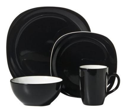 Thomson Pottery Duo Quadro Black 16 pc Dinnerware Set Service For 4