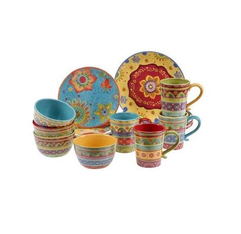 Vibrant Beautiful Colorful 100 Ceramic 16-pc Dinnerware Set by Tunisian Sunset